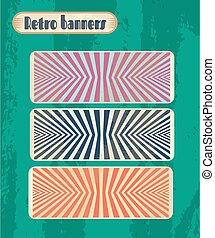 Set, collection, group of three vintage banners with pattern - stripes, grunge, retro style