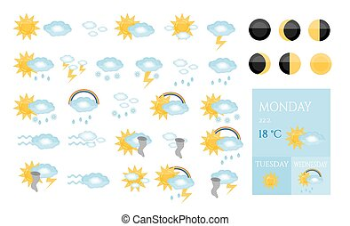 Set, collection, group, pack of modern, isolated, weather icons -  sun, cloud, raining, snowing, tornado, rainbow, moon