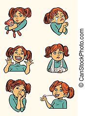 set collection little girl in different situations. Comic...