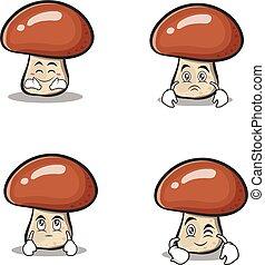 Set collection mushroom character cartoon