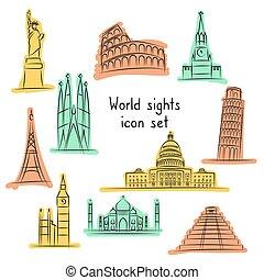 set., collection., oavgjord, hand, resa, dragningar, värld, graphic., ikon
