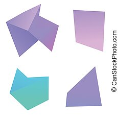 Set, collection of abstract irregular geometric shapes. Modern dynamic style with bright gradient colors