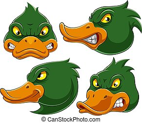 Set collection of angry duck Mascot