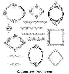 Set collection of calligraphic elements, frames,signs