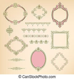 Set collection of calligraphic elements, frames, signs