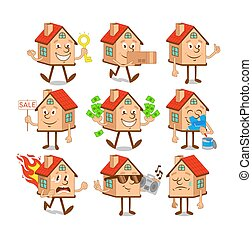 Set collection of cartoon character houses