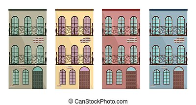 Set collection of colorful architecture facade buildings vector