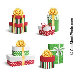 Set Collection of Colorful Celebration Christmas Gift Boxes with Bows Isolated on White