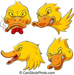 Set collection of duck Head Mascot