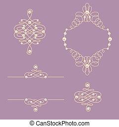 Set collection of elegant golden knot frame, signs ,dividers on purple background.