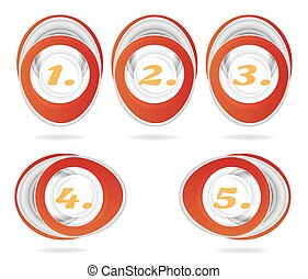 Set, collection of five, isolated, oval, red, metal icons, buttons with orange numbers - one, two, three, four, five