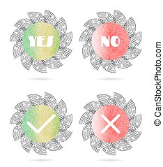 Set, collection of four, isolated, round, green, red icons, buttons with white text Yes, No and simple shapes