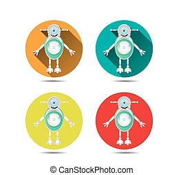 Set, collection of four isolated, round, orange, blue, yellow, red icons, buttons with modern, silver, smiling robot, with one large, blue eye