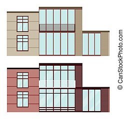 Set collection of modern architecture glass facade buildings vector