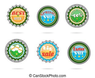 Set, collection of modern, metal, green, blue Easter labels with text - Big Sale, Best Offer, Best Choice, striped eggs