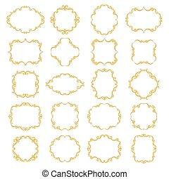 Set collection of ornamental vintage frames