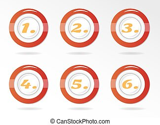 Set, collection of six, isolated, round, red, icons, buttons with orange numbers - one, two, three, four, five, six - 1,2,3,4,5,6