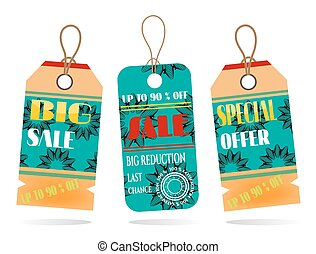 Set, collection of two, blue, orange, beautiful, isolated, hanging stickers with text Sale, pattern with flowers, whitebackground