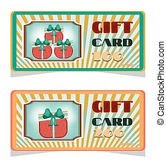 Set, collection of two vintage, elegant, gift card with pattern, text, retro design