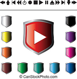 Set - collection of vector illustration shiny and glossy button isolated on white background. White, yellow, orange, brown, green, blue, pink, purple and black abstract web navigation buttons.