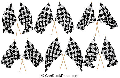Set collection of waving crossed cross black white chequered flag wooden stick motorsport sport and racing concept isolated background