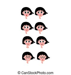 Set, collection of woman, girl face expressions, heads, avatars