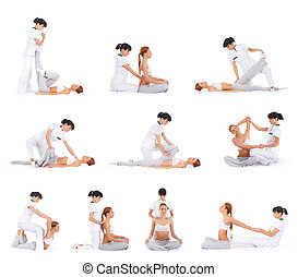 Set collection of women on massage
