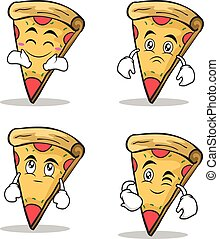 Set collection pizza character cartoon
