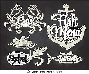 Set collection seafood menu chalk