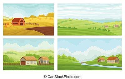 set., collection, vecteur, secteur, campagne, rural, paysages, graphique