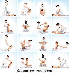 Set collection with many different images of the woman getting traditional thai stretching massage by therapist isolated on blue background