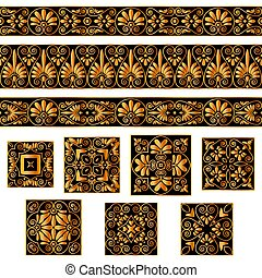 Set collections of old Greek ornaments. Golden antique borders and tiles isolated on the white background.