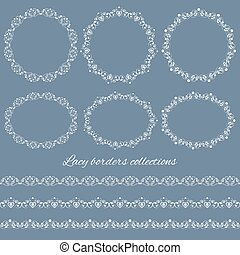 Set collections of vintage lacy borders and frames