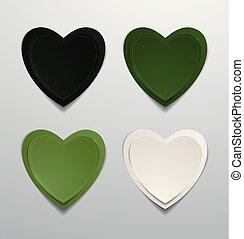 set., collezione, carta colorata, verde, cuori