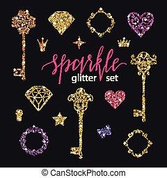set, collezione, di, dorato, brillare, diamanti, cuori,...