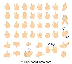 set., collezione, mano, palma, umano, gesto