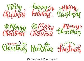 set., collezione, natività, vettore, allegro, anno, nuovo, calligrafia, lettering., natale, scritto mano