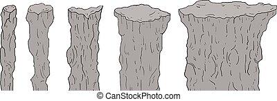 set, colonne, roccia