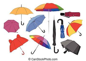set., coloré, parapluies