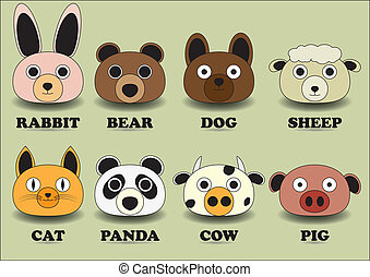 set color animal face icons