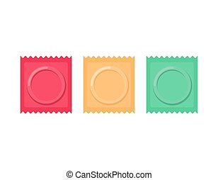 Set color Condom packed isolated. Contraceptive on white background. Sex protection