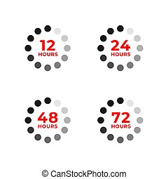 Set color icons of 12, 24, 48, 72 hours - Set icons of 12, ...