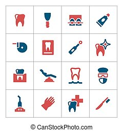 Set color icons of dental