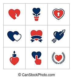 Set color icons of heart