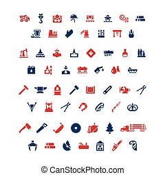 Set color icons of industry