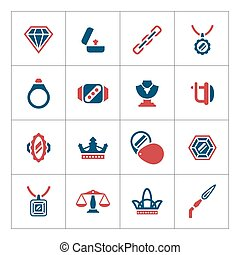 Set color icons of jewelry