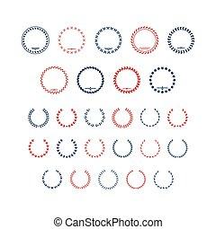 Set color icons of laurel wreath and modern frames