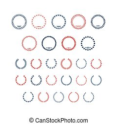 Set color icons of laurel wreath and modern frames