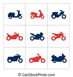 Set color icons of motorcycles