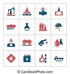 Set color icons of oil industry